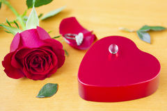 Valentines Day_6. Symbol of heart, rose, pearl and leafs Stock Image
