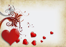 Valentines Day. Vintage valentines background with two hearts Royalty Free Stock Photo