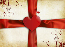Valentines Day. Vintage valentines background with two hearts Stock Photography