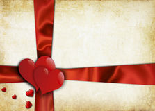 Valentines Day. Vintage valentines background with two hearts Royalty Free Stock Photos