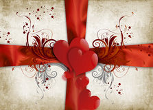 Valentines Day. Vintage valentines background with two hearts Stock Image