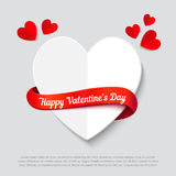 Valentines day abstract background cut paper heart. Valentines day abstract background with cut paper heart and curl red ribbon. Realistic vector illustration Royalty Free Stock Photo