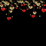 Valentines day abstract background with gold and red hearts Royalty Free Stock Photos