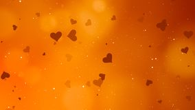 Valentines Day Abstract Background. And love concept. Orange heart shape, glittering light elements with bokeh decorations design for romantic background Royalty Free Stock Photo