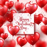 Valentines day abstract background with red 3d balloons and confetti. Heart shape. February 14, love. Romantic wedding. Greeting card. Womens, Mothers day stock illustration