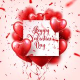 Valentines day abstract background with red 3d balloons and confetti. Heart shape. February 14, love. Romantic wedding. Greeting card. Womens, Mothers day vector illustration