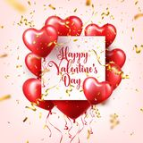 Valentines day abstract background with red 3d balloons and golden confetti. Heart shape. February 14, love. Romantic. Wedding greeting card.Womens, Mothers day royalty free illustration
