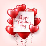 Valentines day abstract background with red 3d balloons. Heart shape. February 14, love. Romantic wedding greeting card. Womens, Mothers day stock illustration