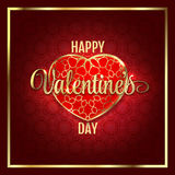 Valentines day abstract background with red gold heart. Vector illustration. Royalty Free Stock Images