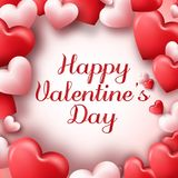 Valentines day abstract background with red and pink hearts Stock Images