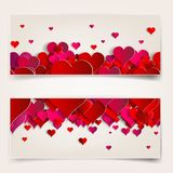 Valentines day. Abstract cards with paper hearts Royalty Free Stock Photo