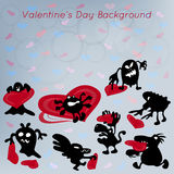 Valentines Day abstract funny background with monster Royalty Free Stock Photo