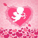 Valentines day angel of love. With heart and arrow card or invitation vector illustration Royalty Free Stock Photo