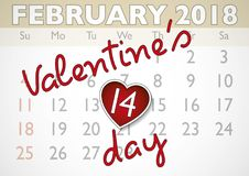 Valentines day appointment february 14. Valentines day calendar sheet with love heart shaped appointment in february 14. Valentines day, love concept. Love Royalty Free Illustration