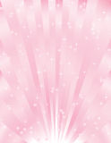 Valentines day background. Shiny pink sunburst background with hearts and stars Royalty Free Stock Image