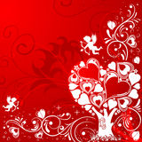 Valentines Day background. With Tree and Cupid, element for design,  illustration Royalty Free Stock Images