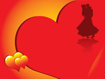 Valentines day background. Valentine's day card with romentic couple silhouette and beautiful glowing hearts Stock Photos