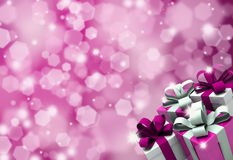 Valentines day background. Valentines Day gifts on a glittery background Royalty Free Stock Image