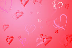 Valentines Day background. Frame with Hearts in red and pink Stock Photos