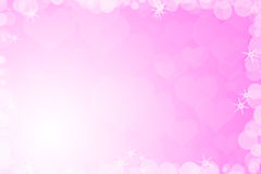 Valentines day background. Pink framed background with lights, stars and hearts vector illustration