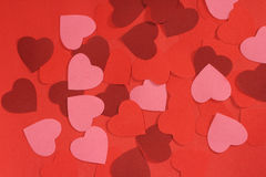 Valentines day background. With many paper hearts Stock Photos