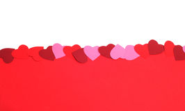 Valentines Day background. With paper hearts and copy space Royalty Free Stock Photography