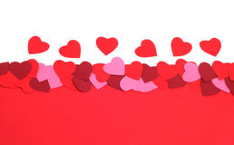 Valentines Day background. With paper hearts and copy space Stock Images