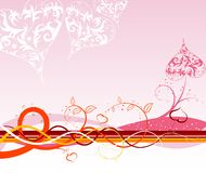 Valentines Day background with. Hearts, florals and wave, element for design, vector illustration Royalty Free Stock Photos