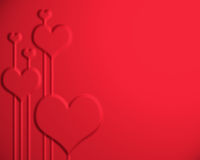 Valentines day background. Classical red with hearts print Stock Images