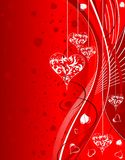 Valentines Day background. With Hearts and wave pattern, element for design, vector illustration Stock Photography