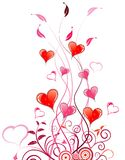 Valentines Day background. With Hearts and floral pattern, element for design, vector illustration Stock Photos
