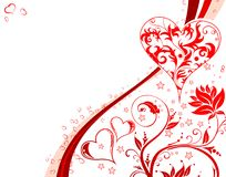 Valentines Day background. With Hearts and floral pattern, element for design, vector illustration Royalty Free Stock Photos