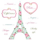 Valentines day background as patchwork fabric Eiffel tower of Paris with hearts on strings. With roses in shabby chic style vector illustration