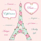 Valentines day background as patchwork fabric Eiffel tower of Paris with hearts on strings. With roses in shabby chic style stock illustration