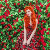 Valentines Day background. Awesome girl with red lips in stylish dress with print of roses in beautiful summer garden. Awesome beauty redhead model with stock photo