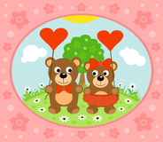 Valentines day  background with bear Royalty Free Stock Image