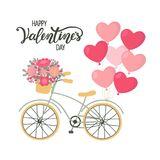 Valentines Day background bicycle with heart shaped balloons and flowers. Bike with balloons in form of hearts and flowers. Card for Valentines day. Vector Stock Image