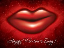 Big red lips. Valentines Day background.Big red lipss.Vector illustration Royalty Free Stock Photos