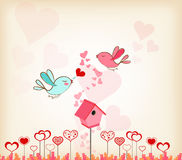 valentines day background with birdhouse Royalty Free Stock Photography