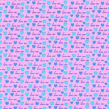 Valentines day.background with blue hearts.Seamless patter Stock Images