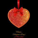 Valentines Day background with bow and heart of red glitters Stock Photography
