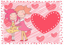 Valentines day background. With boy and girl Royalty Free Illustration
