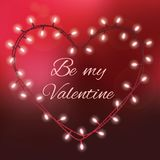 Valentines day background with bright lights and text Be my Valentine royalty free illustration