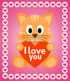 Valentines day background with cat Royalty Free Stock Image