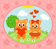 Valentines day  background with cat Stock Photography