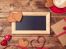 Valentines day background with chalkboard Stock Photo