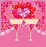 Valentines day background with champagne and hearts Stock Photo