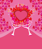 Valentines day background with champagne and hearts Royalty Free Stock Photography