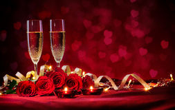 Valentines day background. With champagne and roses Royalty Free Stock Photo