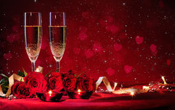 Valentines day background. With champagne and roses Royalty Free Stock Photos
